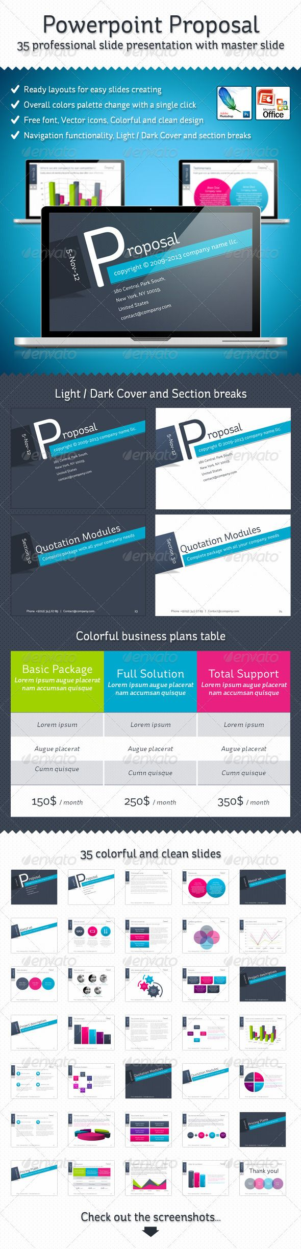 'Ryde' - Powerpoint Proposal Presentation  #GraphicRiver         A full generic business Proposal Template,     x35 professional slide presentation with master slide for a complete proposal.     The Files are filled with placeholder text for you to easily edit.     Ready layouts for easy slides creating.     Overall colors palette change with a single click.     Free font, Vector icons, Colorful and clean design.     Navigation functionality, Light / Dark Cover and section breaks.       …