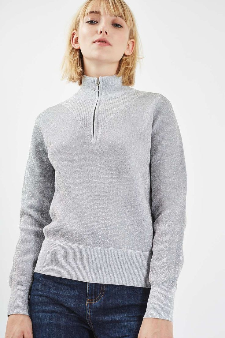Compact Metallic Jumper - Topshop USA