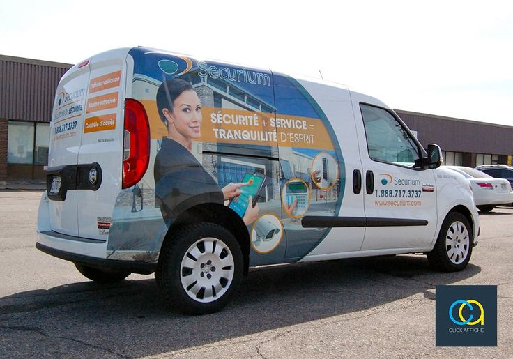 Vehicle wrap and lettering designed, printed and installed on 2016 Dodge RAM ProMaster City van for Securium - Canada's leading security solutions provider for major corporations.