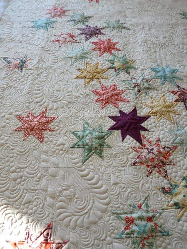 Falling Stars quilt, Beautiful Machine quilting by Margretgunn LOVE how the quilting creates motion@PrettyBobbins: