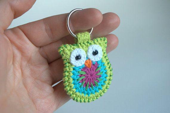 Crochet owl keychain, green owl key ring