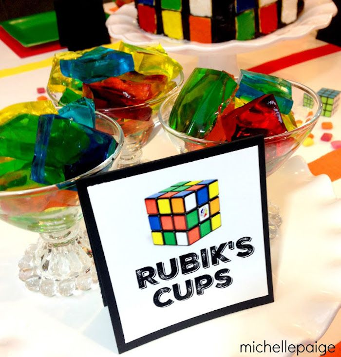 Jello + Rubik's Cube Cups from a Rubik's Cube Themed Birthday Party via Kara's Party Ideas KarasPartyIdeas.com (12)