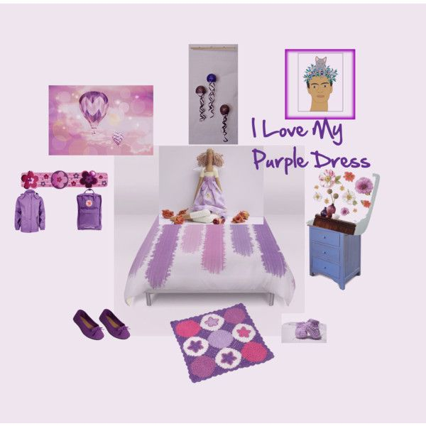 I Love My Purple Dress by pippinpost on Polyvore featuring interior, interiors, interior design, home, home decor, interior decorating, RoomMates Decor, Wall Pops!, Fjällräven and purpledress