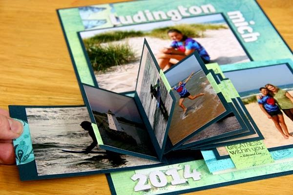 Club Scraps Kay Williamson creates scrapbook page featuring waterfall technique - Lakes Blog Hop