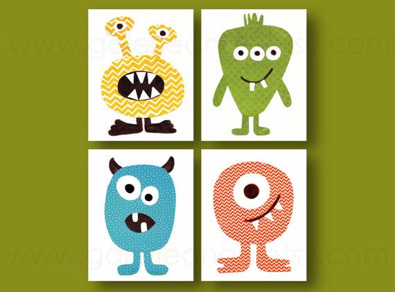 Blue yellow green Kids wall art, kids room decor, baby nursery art, bathroom, monster, set of four 8x10 in. prints