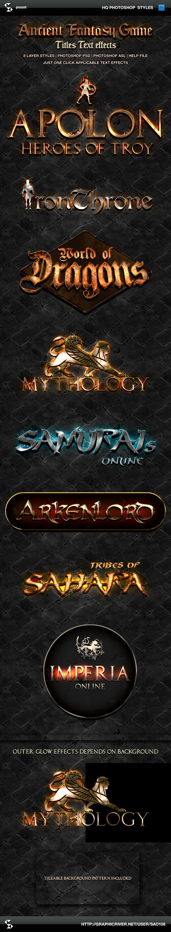 Ancient Fantasy Game Style Titles - (photoshop layer styles, text effects) Just one click applicable text effects for photoshop.