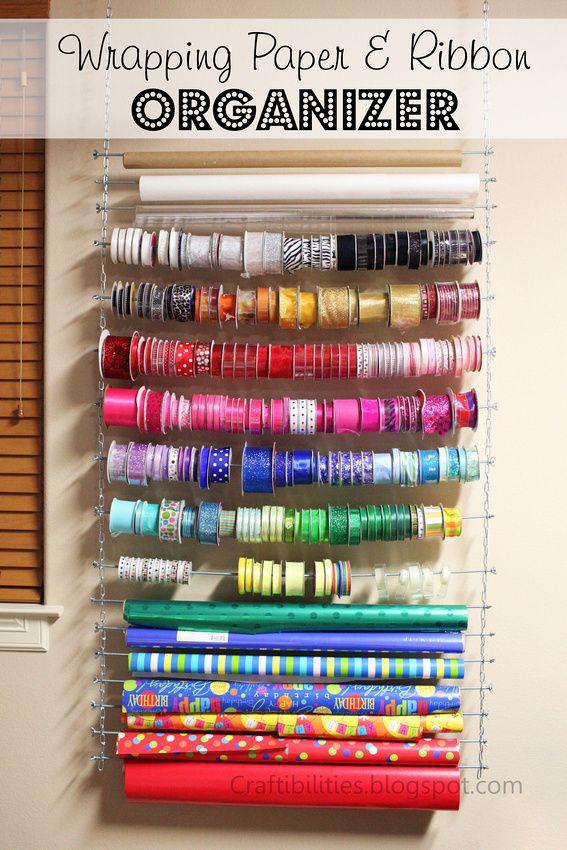 Diy Ribbon Storage Shelf Organizer Finished Craft Room Wall