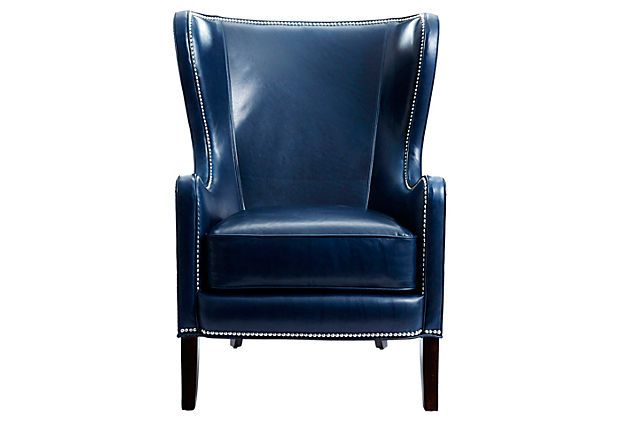 lane leather office chair brown ikea outdoor chairs dempsey chair, navy on onekingslane.com....i'm in love with this chair! beautiful and unexpected ...