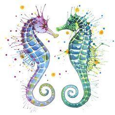 seahorse watercolor tattoo - Google Search