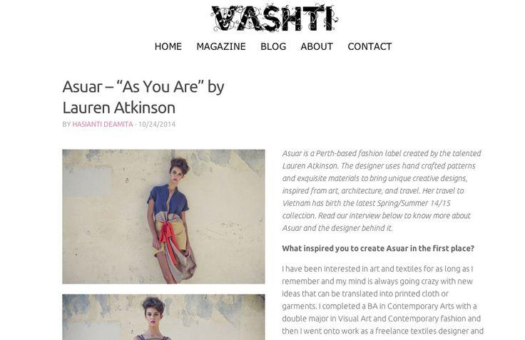 VASHTI MAGAZINE X ASUAR  http://www.asuardesign.com/product-category/all/  vashti magazine, asuar, press, interview, thank you