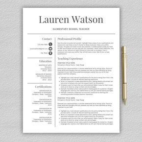Example teacher resume / CV templates with two-column sidebar format. Matching cover letter and reference sheet included. Free contact information icons. #resume #gethired