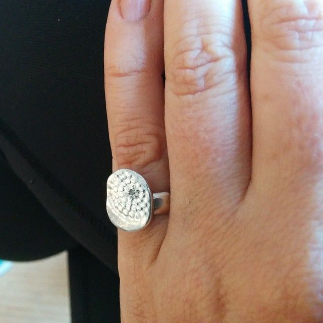 Textured Ring with Aquamarine Gemstone