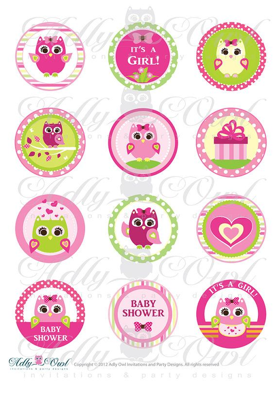 Pink Girl Owl Baby Shower Cupcake Toppers or by adlyowlinvitations, $3.50