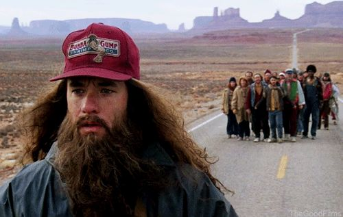 Where did Forrest decide to stop running and go home?