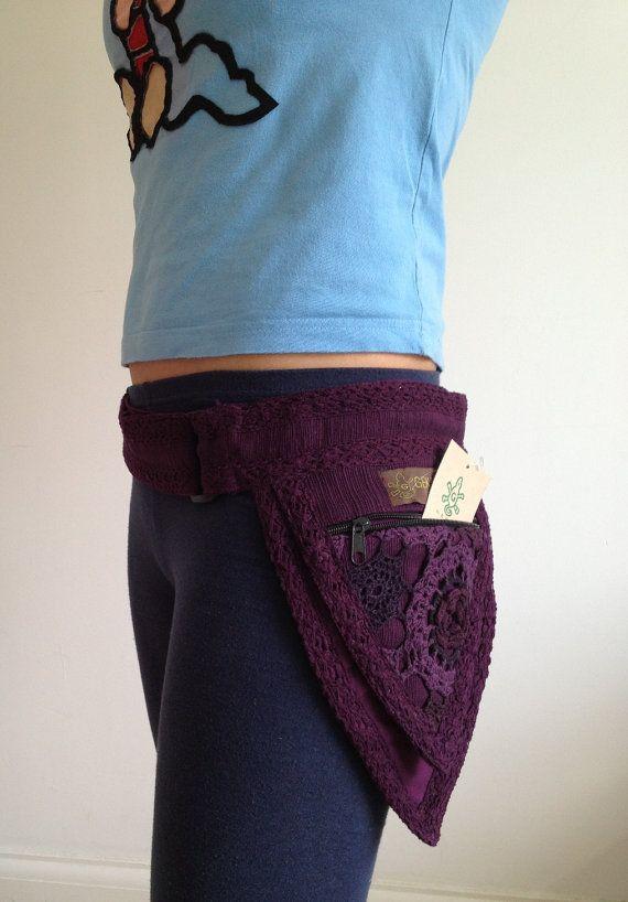 PURPLE - PIXIE belt fairy belt Elf belt Pocket BELT Waist belt Hip pouch psy trance belt fanny pack