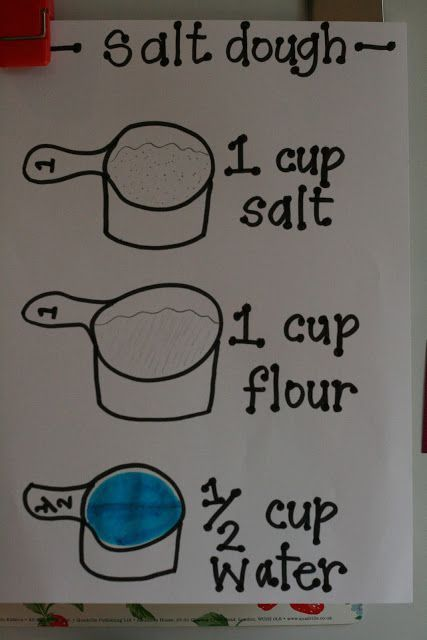 Recipe for salt dough. Just thought I should pin this in case I want to make some but forget how. :)