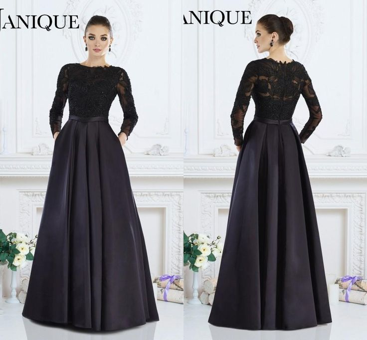 Janique 2016 Black Formal Gown A Line Jewel Long Sleeve Lace Beaded Mother Of The Bride Dresses Evening Wear For Women Custom Made Silk Evening Dress Simple Evening Dress From Weddingmuse, $112.57  Dhgate.Com