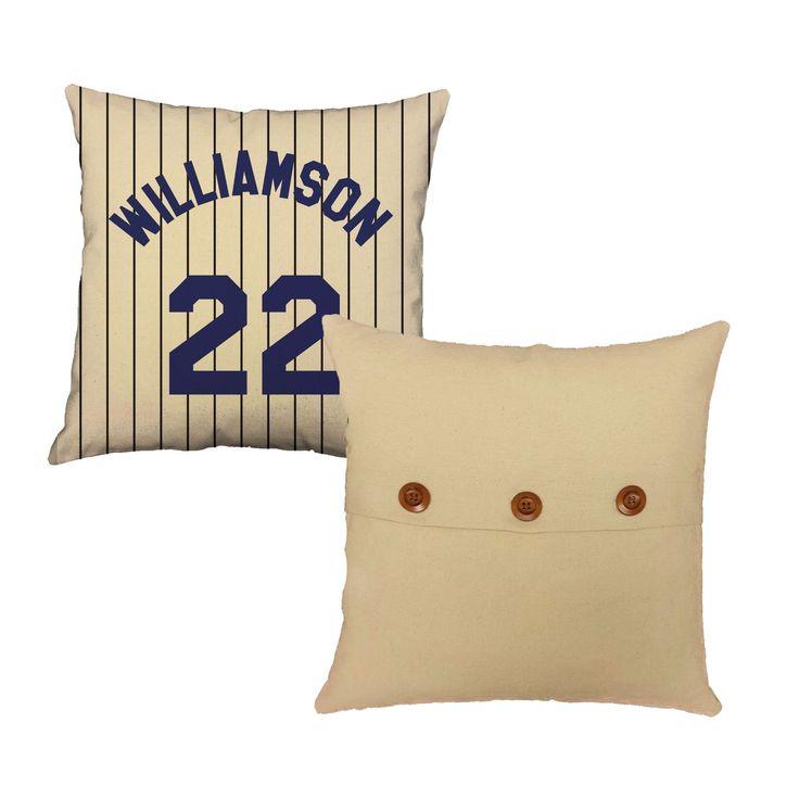 Set of 2 Personalized Baseball Pillows - Custom Name Baseball Throw Pillow Covers and or Cushion Inserts - Custom Baseball Print, Room Decor