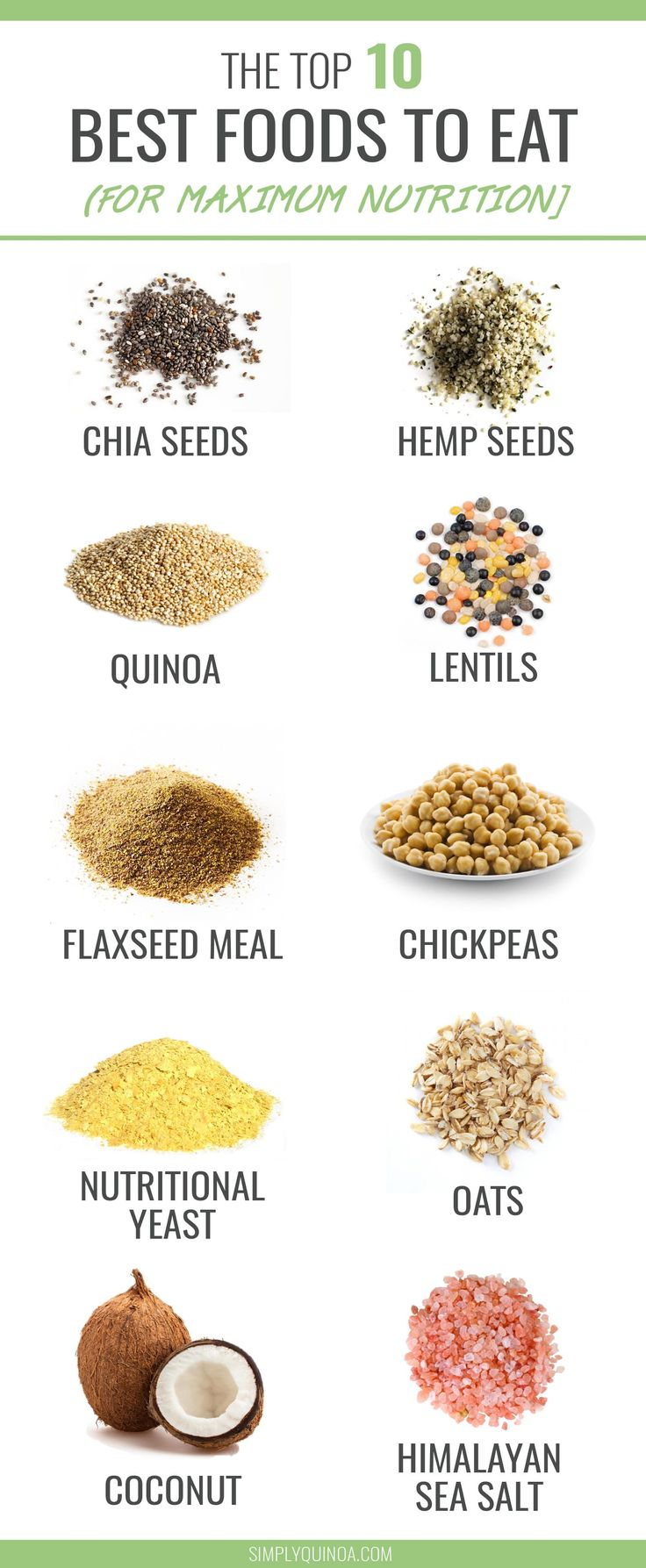 10 BEST BEST FOODS TO EAT -- maximize the nutrition of every meal by adding one of these super power ingredients! They're healthy, delicious AND filled with essential vitamins and minerals. // @SimplyQuinoa