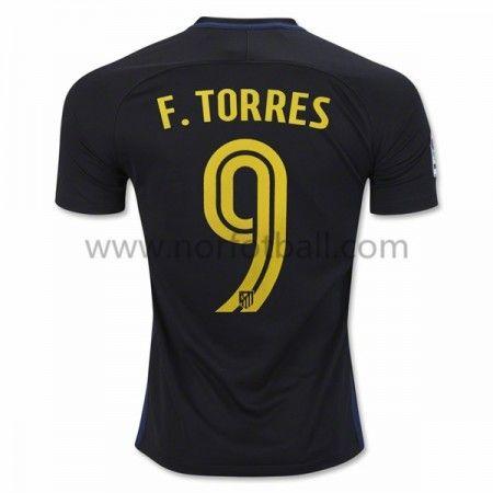 Billige Fotballdrakter Atletico Madrid 2016-17 Fernando Torres 9 Borte Draktsett Kortermet