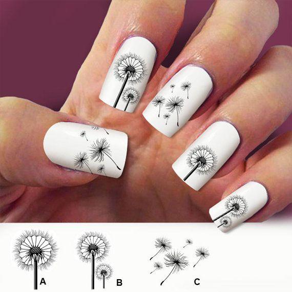 60 Löwenzahn Nagelkunst, Abziehbilder, Nagel Nail Art Design Wasser schieben Nagel Decals,