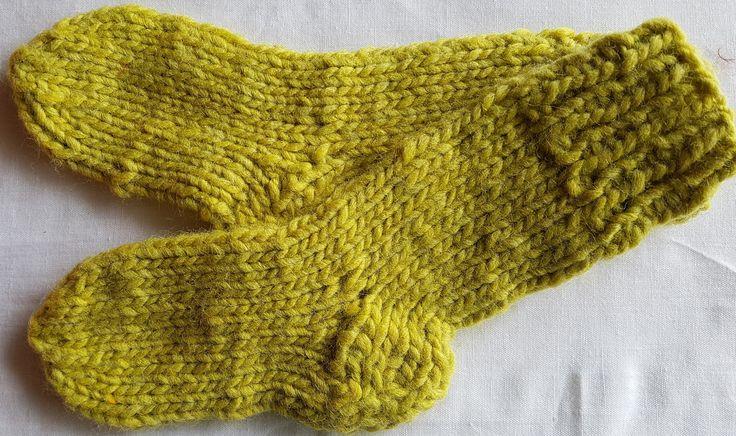 "Handknitted baby socks in "" Lime"" by LynnesEbooks on Etsy"