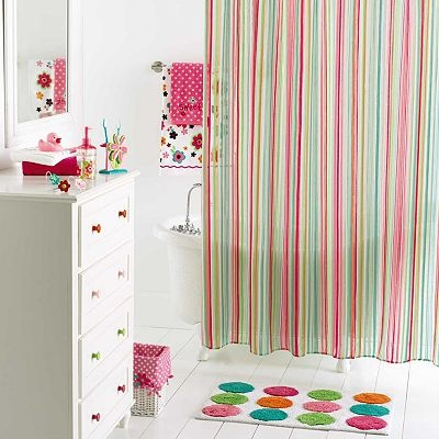 sweet girl bathroom coordinates shower curtain stripes pink green baby blue polka dot orange