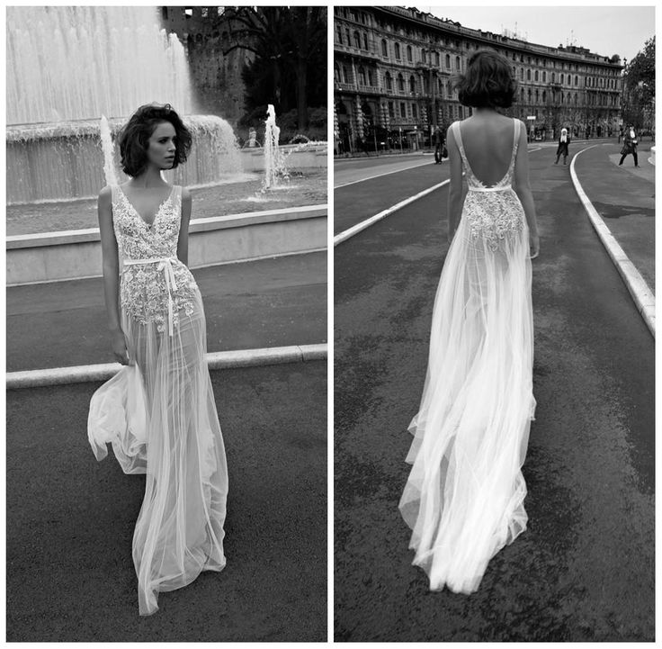 Amazing New Arrival Beach Sleeveless V neck Backless Wedding Dresses Lace Appliques See through Tulle Boho Bridal Gowns Vera Wang
