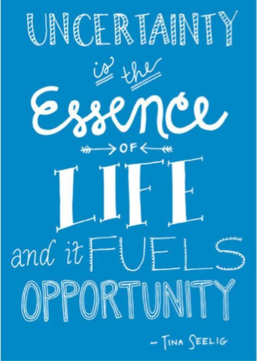 """""""Uncertainty is the essence of life, and it fuels"""