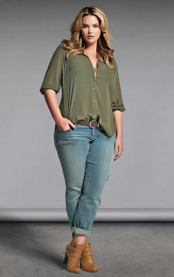 Plus Size outfit fashion torrid. Olive loose shirt tucked into jeans http://wholesaleplussize.clothing/