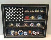 Military Challenge Coin Display Rack Holder Collector US Wood Flag Gift for Veterans Army Navy Air Force Marines Coast Guard Retirement
