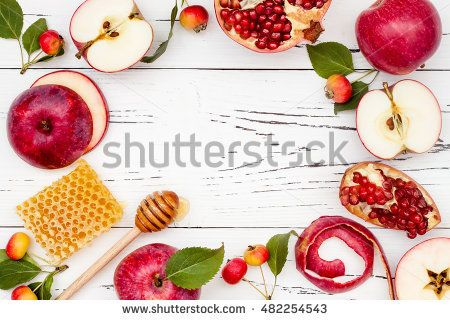 Apple, pomegranate and honey, traditional food of jewish New Year ...