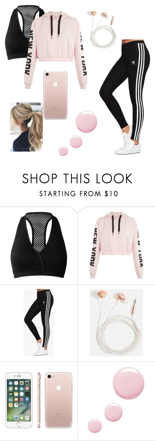 """Pink"" by galaxymoonstar ❤ liked on Polyvore featuring adidas Originals, Skinnydip and Topshop"