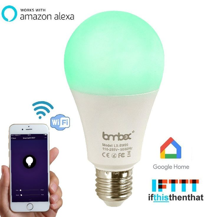 Wifi Smart Led Light bulb,Work With Alexa Google Home IFTTT Smart Home Automation Dimmable Warm White E27 light bulb 9W(60W Equivalent)A19 RGBW Color Changing Mood Light