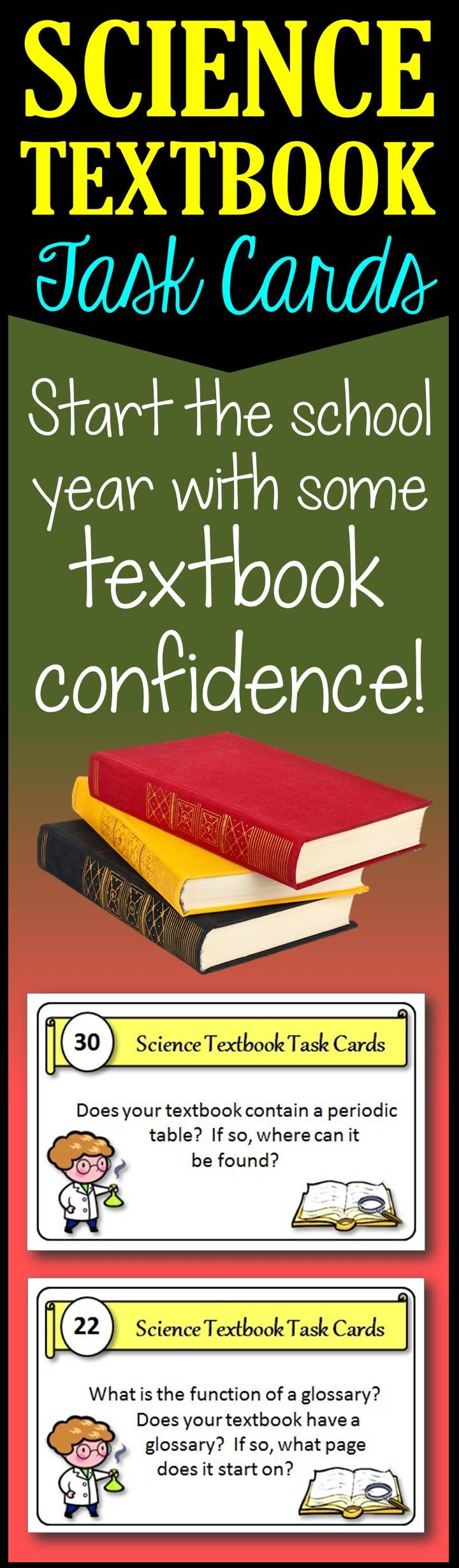 32 Science Textbook Task Cards give your students confidence to use their science textbooks.  Working in groups or alone, students become comfortable and familiar with their textbooks.  A great activity to start your science class!
