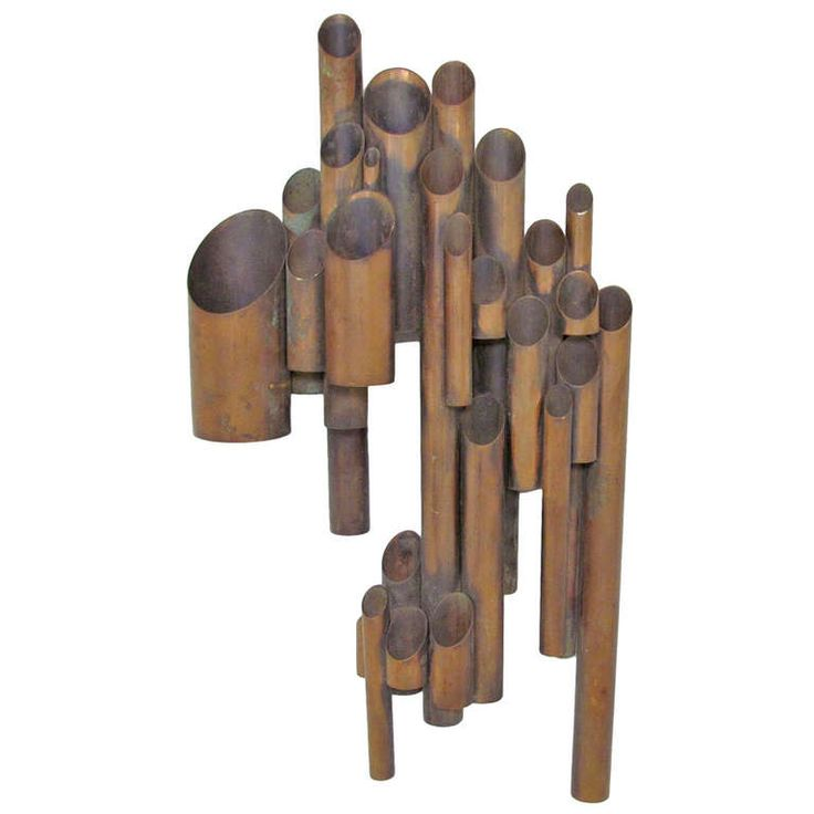 Artist Made Tubular Industrial Wall Sculpture in Copper | From a unique collection of antique and modern wall-mounted sculptures at http://www.1stdibs.com/furniture/wall-decorations/wall-mounted-sculptures/