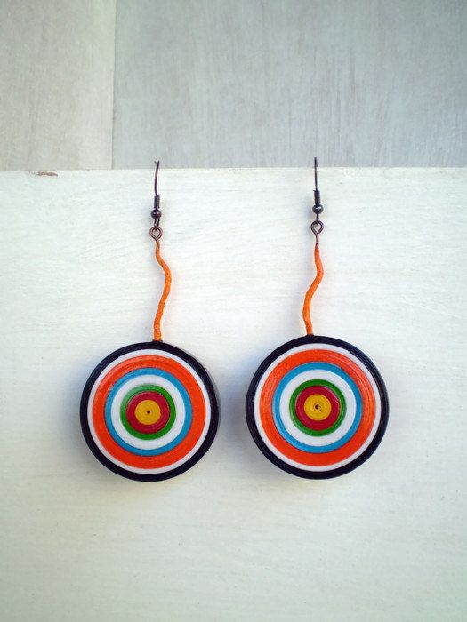 Colorful Dangle Earrings Eco Friendly  Paper by LeftysHandcrafts