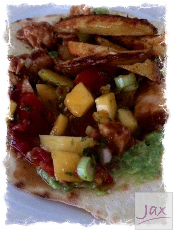 BBQ kip tostada's met zoete Jalapeno salsa