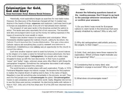 A passage and questions about early exploration and colonization. Cross-Curricular Focus: History / Social Science