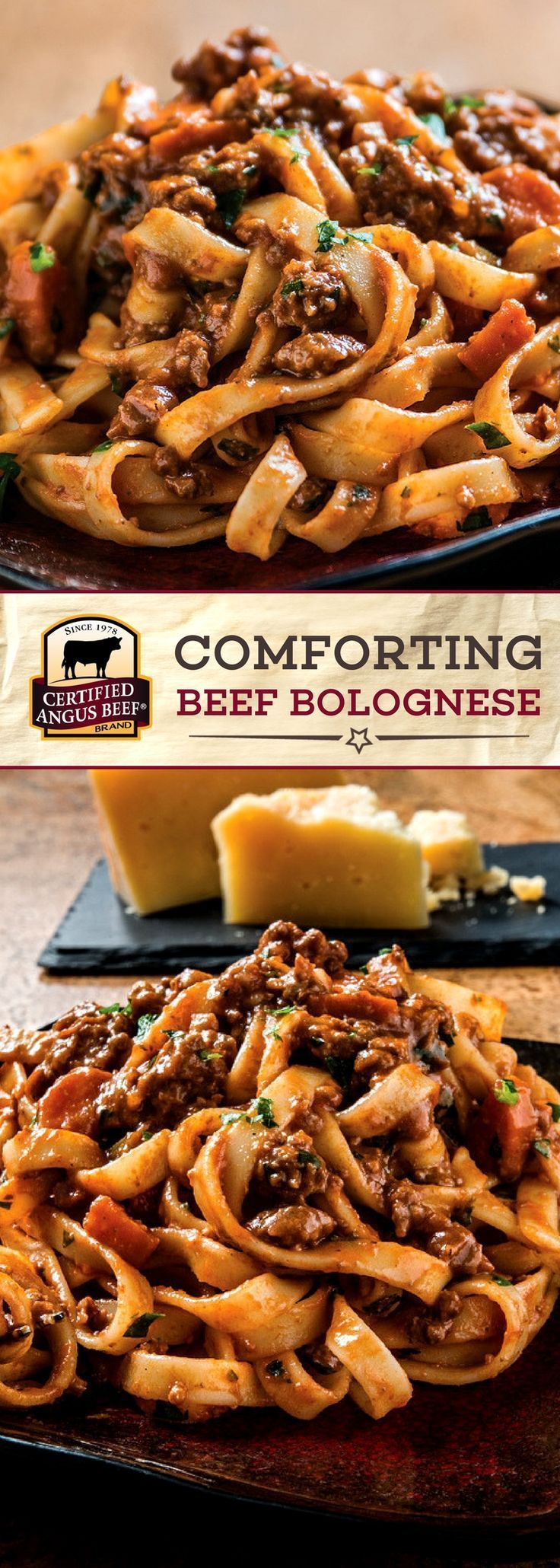 Magic happens as theCertified Angus Beef ®️️️️️️️️️️️️️️️️️️️️️️️ brand beef, BACON, and aromatic vegetables slowly cook down with wine, tomato paste, and beef broth in this COMFORTING Bolognese Recipe. Served with fettuccine pasta noodles and garnished with pleasantly salty Parmigiano-Reggiano cheese, this dish is a comfort food classic for your family table! #bestangusbeef #certifiedangusbeef #beefstewrecipe #pastarecipe