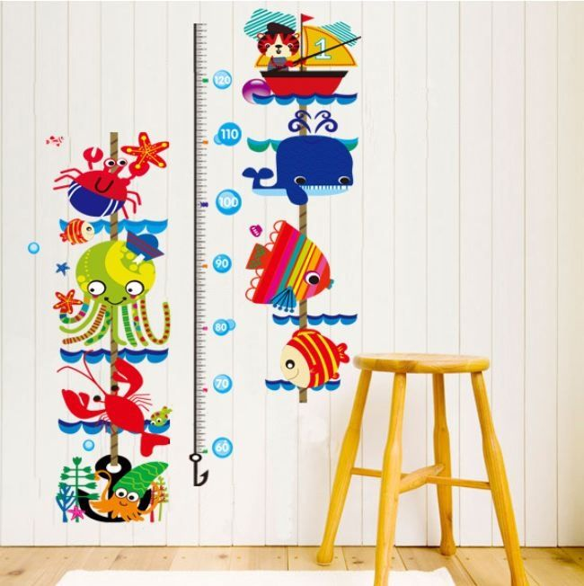 Colorful cartoon underwater world fish kids baby growth chart height measure home kids room diy decals wall stickers for nursery