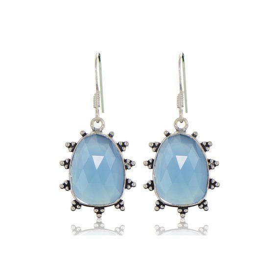 Calcedonia azul pendientes piedras preciosas claro por ChicBahar