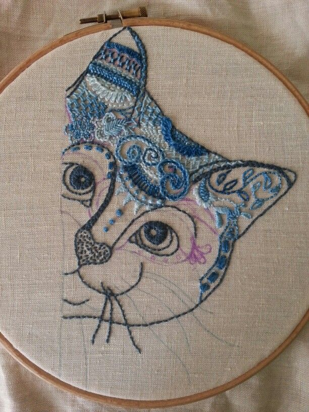 Процесс. Вышивка простыми стежками. Cat, zentangle, blue, embroidery