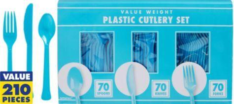 Caribbean Blue Cutlery Set 210pc - Party City $9.99