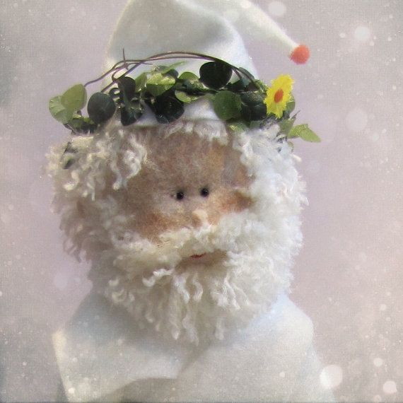 Felt Puppet of White  Christmas Santa Claus by CakeToppersbyAulee