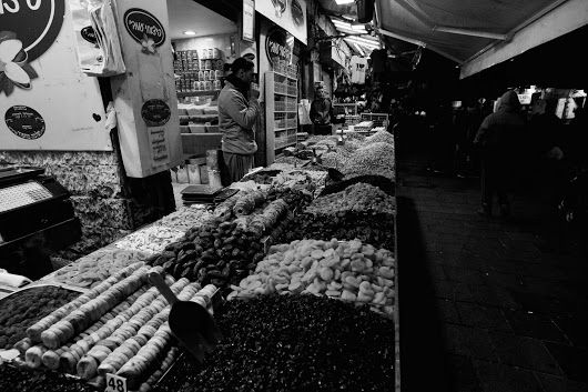 Dried Fruit and Sweets for the Hanukkah holiday. Machane Yehudah Market in Jerusalem