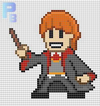 Ron Harry Potter perler pattern - Patrones Beads / Plantillas para Hama