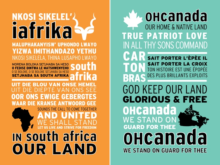 typography of South Africa and Canada's national anthems