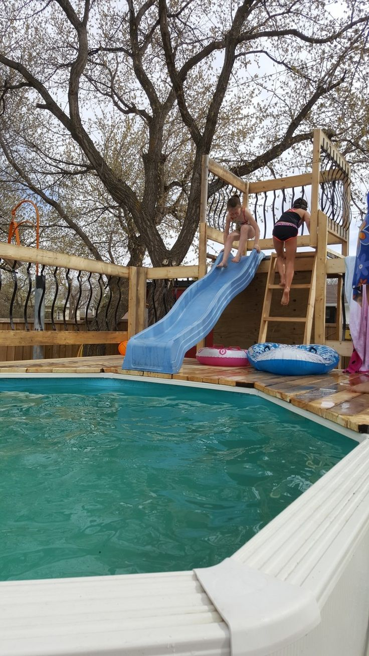 Above ground pool slide it turned out great and the kids - How to build an above ground swimming pool ...