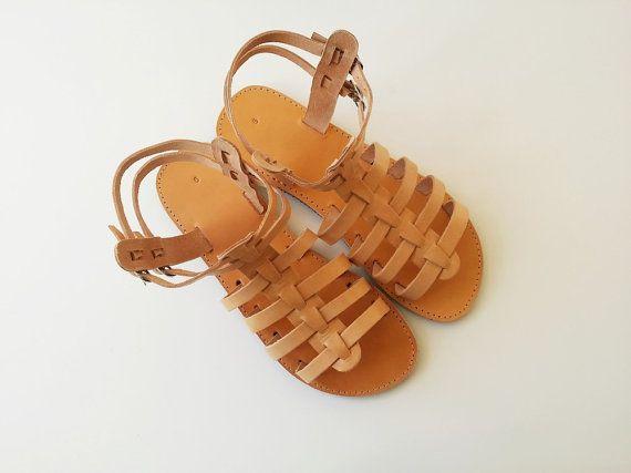 Brown Leather Gladiator Sandals - Men Leather Greek Sandals -  Handmade Natural Leather Color Gladiators